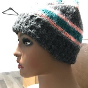 Topshop Women's Gray Pink Striped Brushed beanie